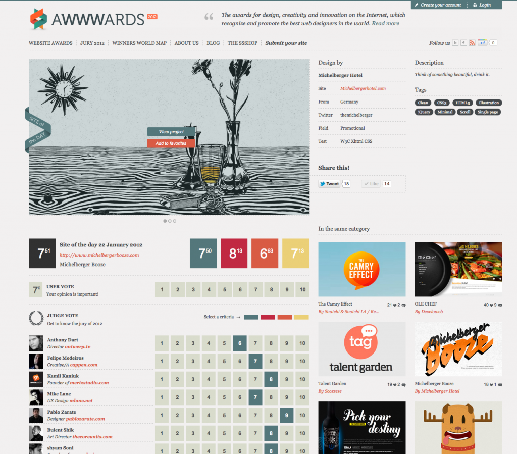 Awwwards Site of the Day Award (2012)